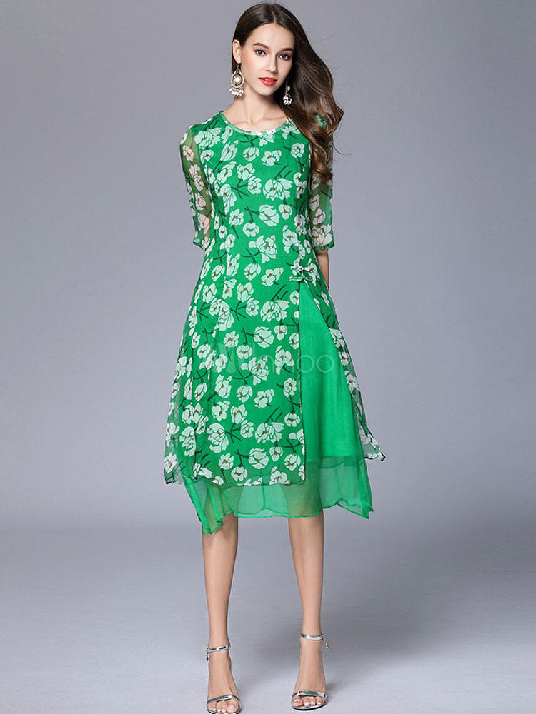 Buy Chiffon Skater Dress Green Round Neck Half Sleeve Floral Printed Flare Dress for $33.24 in Milanoo store
