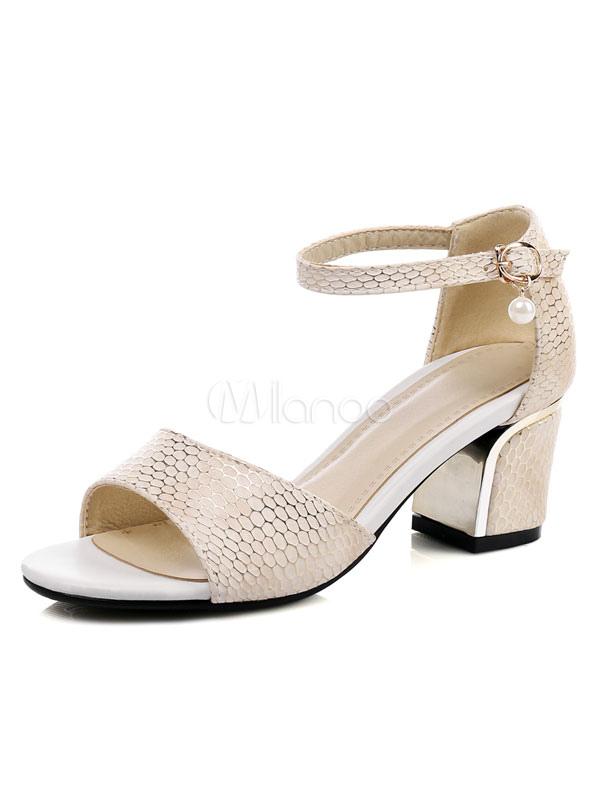 cf0eaf446 Mid Heel Sandals Women s Open Toe Snake Pattern Ankle Strap Pearl Decor Chunky  Heel Sandal- ...