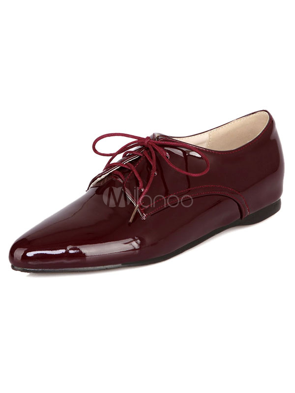 f9c0462cb7a Burgundy Oxford Shoes Women s Pointed Toe Lace Up Stylish Flat Shoes-No. ...