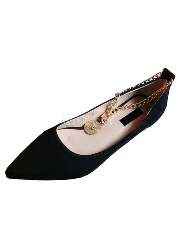 Zapatos planos Planos con cinta en la tobillera de puntera puntiaguada para mujer estilo moderno Color liso para pasar por la noche 5vccV605N