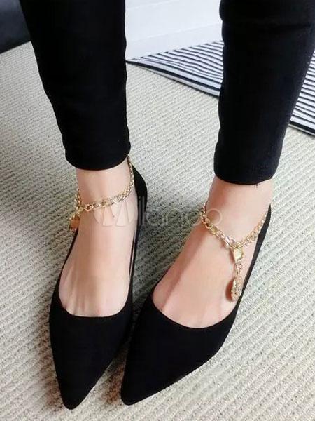 Zapatos planos Planos con cinta en la tobillera de puntera puntiaguada para mujer estilo moderno Color liso para pasar por la noche 8xy6yI6