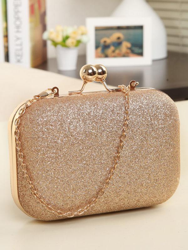 Gold Wedding Clutch Bags Glitter Horizontal Chain Strap Evening Handbags