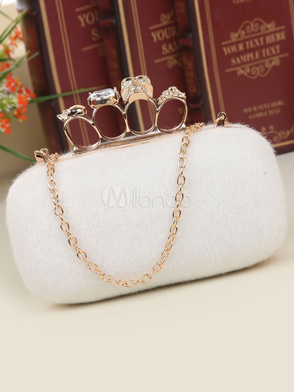 Buy Wedding Clutch Bags White Faux Fur Chain Strap Evening Handbags for $29.99 in Milanoo store