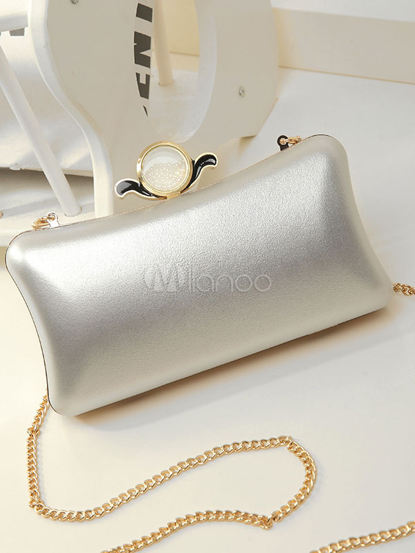 Buy Silver Wedding Clutch Bags Horizontal PU Chain Strap Evening Handbags for $29.99 in Milanoo store