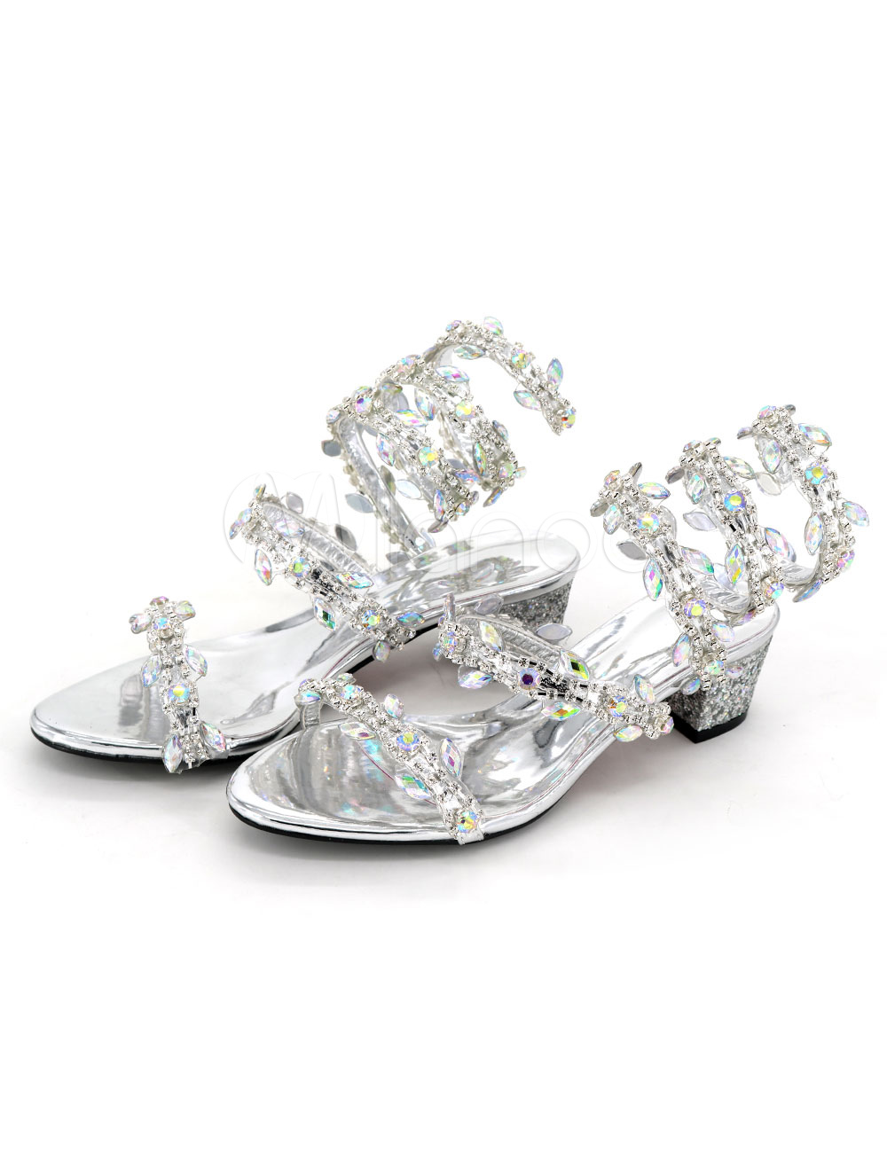 Buy Women's Silver Sandals Glittering Rhinestones Sequins Strappy Tie Leg Chunky Mid Heel Sandals for $52.24 in Milanoo store