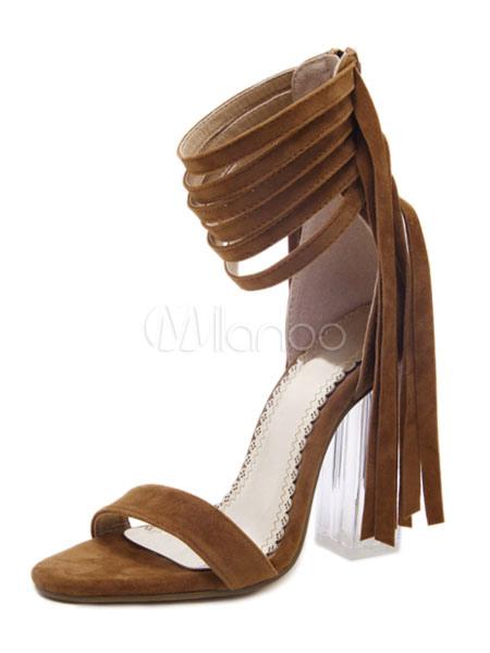 b15cfad6b ... Sandálias camurça vermelho aberto Toe transparente calcanhar tornozelo cinta  sandália sapatos de salto alto com franja ...