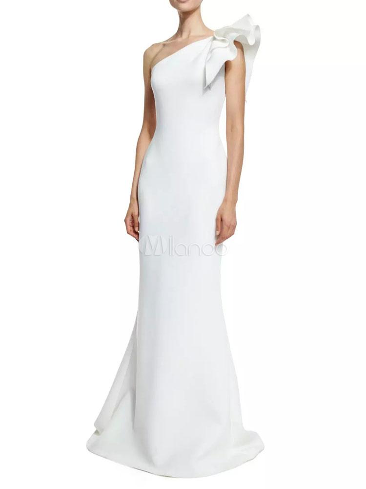 af34f80599d White Long Dress One Shoulder Ruffle Women s Maxi Dress - Milanoo.com