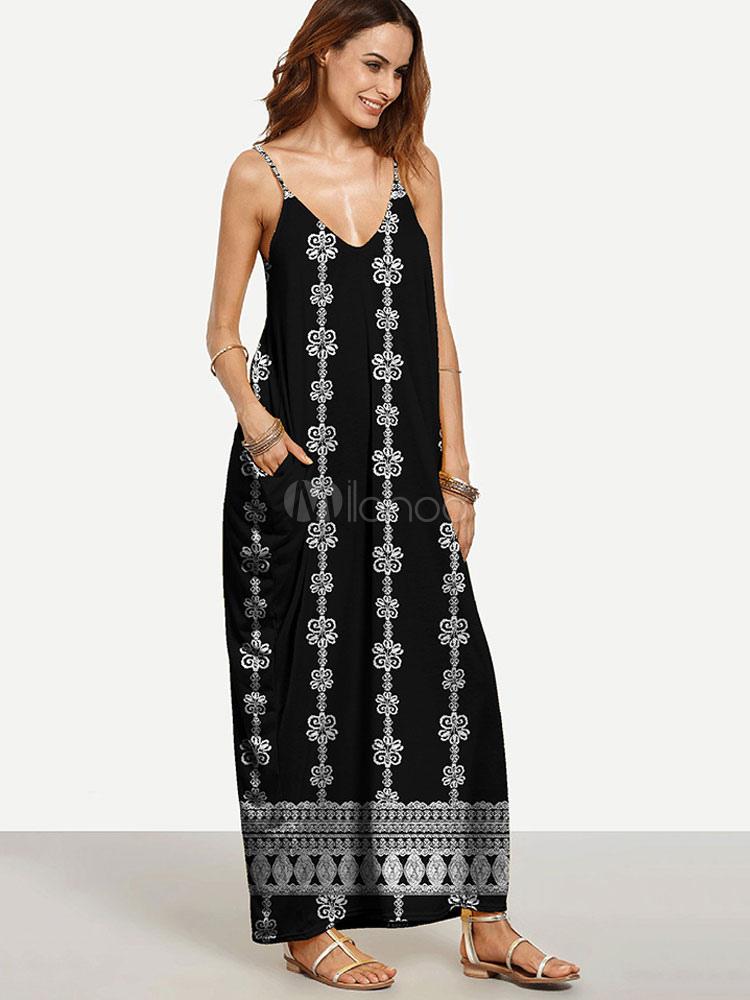 Black Maxi Dress Boho Strappy V Neck Sleeveless Printed Oversized Long Dress