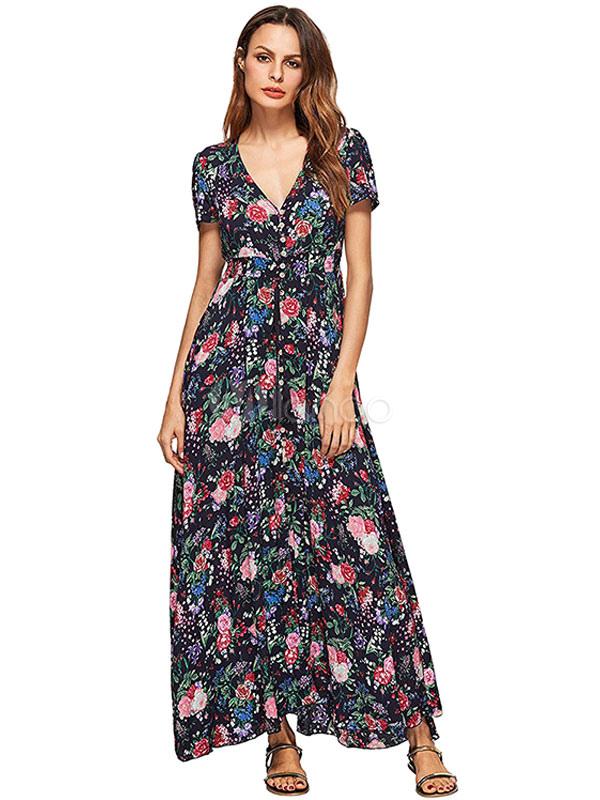 Black Maxi Dress Boho V Neck Short Sleeve Floral Printed Slim Fit Long Dress