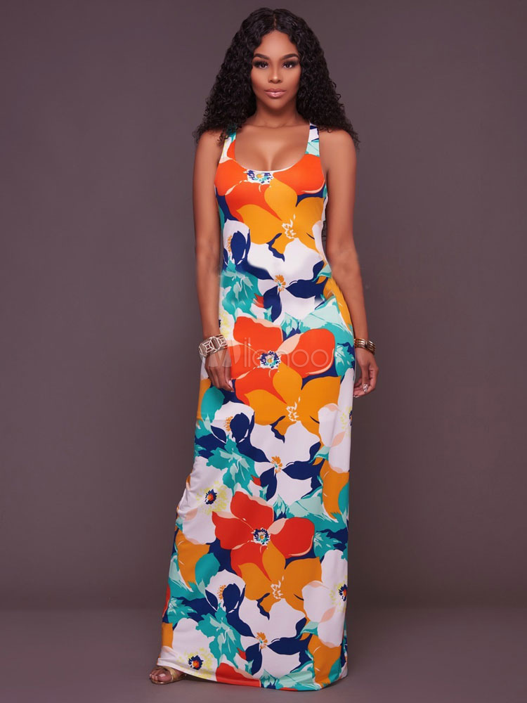 Women's Maxi Dress Strappy Square Neck Sleeveless Floral Printed Cross Front Long Dress