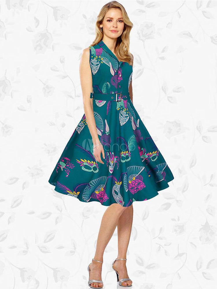 Buy Green Vintage Dress Turndown Collar V Neck Sleeveless Printed Pleated Skater Dress For Women for $32.29 in Milanoo store