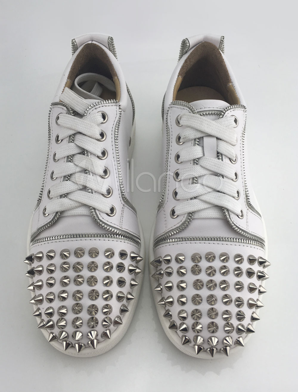 White Spike Shoes Leather Round Toe Lace Up Skate Shoes For Men