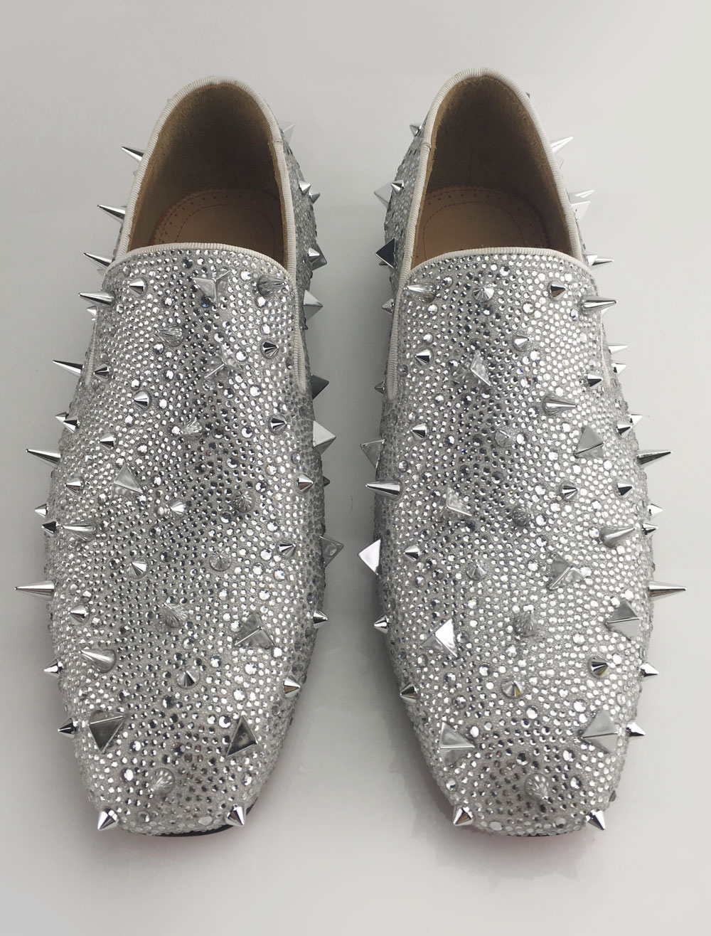 Silver Men Loafers 2018 Prom Shoes Leather Glitter Rivets Slip On Spike Shoes