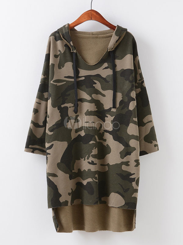 Camo Pullover Sweatshirt Oversized Hooded Drawstring Long Sleeve High Low Casual Hoodie