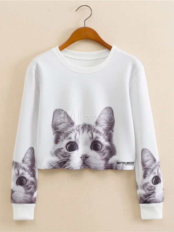 Women's Crop Top Short T Shirts Cat Printed Long Sleeve Women's Tee Shirt Tops