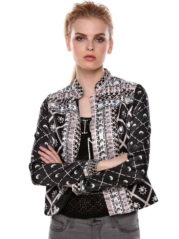 Black Short Jacket Printed Women's Long Sleeve Fitted Coat