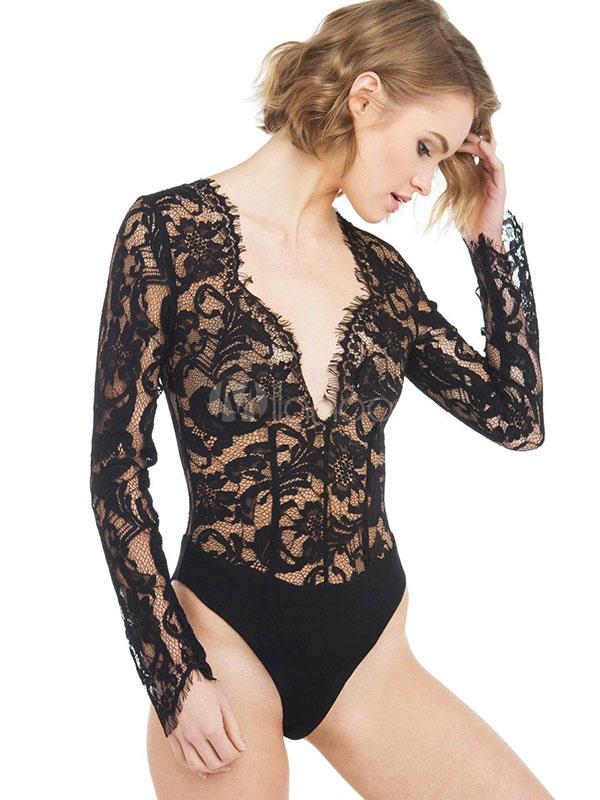 Black Lace Bodysuit Women's Long Sleeve V Neck Sheer