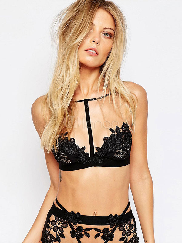 Black Lace Bralette Set Sexy Bra Set T Strap Cutout Lingerie Cheap clothes, free shipping worldwide