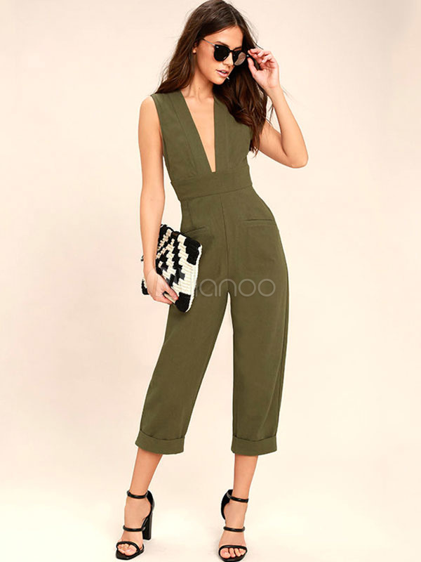Buy Women's Green Jumpsuit Plunging Neckline Sleeveless Cut Out Back Tie Wide Leg Cropped Chic Jumpsuit for $28.49 in Milanoo store