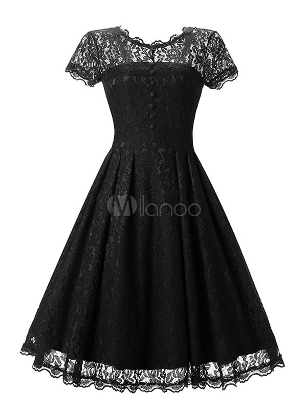 Buy Black Lace Dress Round Neck Short Slim Fit Pleated Skater Dress For Women for $20.99 in Milanoo store