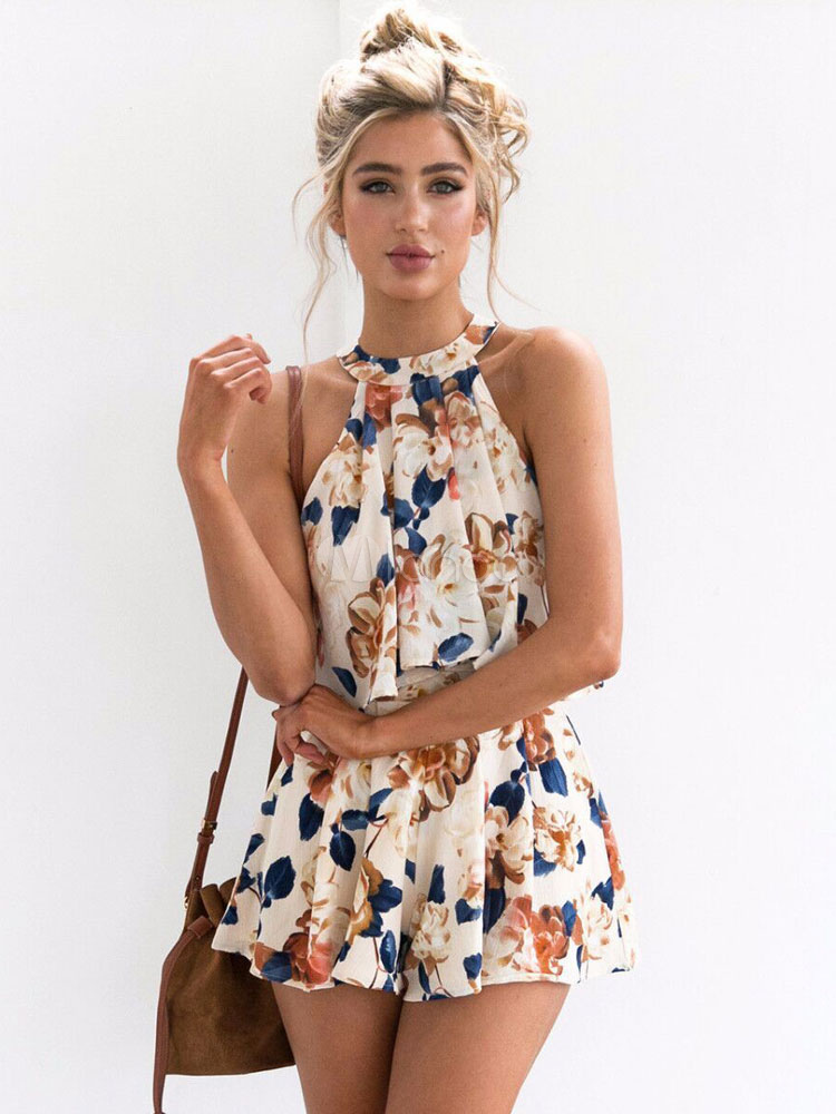 2 Piece Set White Summer Floral Print Halter Women's Sleeveless Top And Shorts