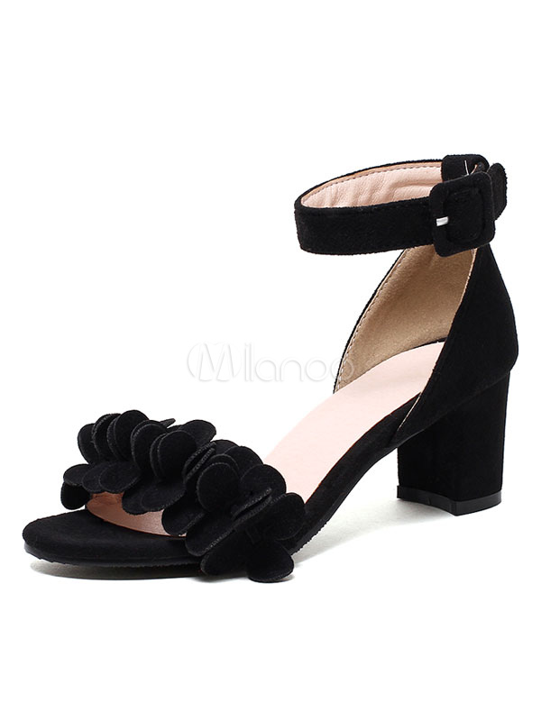 Buy Black Suede Sandals Women's Open Toe Applique Ankle Strap Chunky Low Heel Sandals for $28.79 in Milanoo store