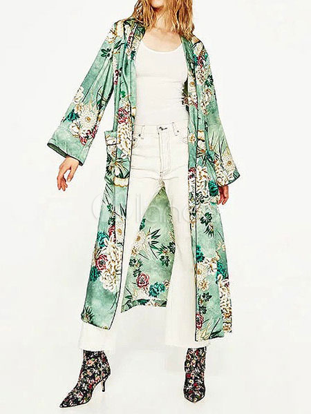 Floral Cover Ups Green Printed Long Sleeve Women's Plus Size Swimwear Cheap clothes, free shipping worldwide