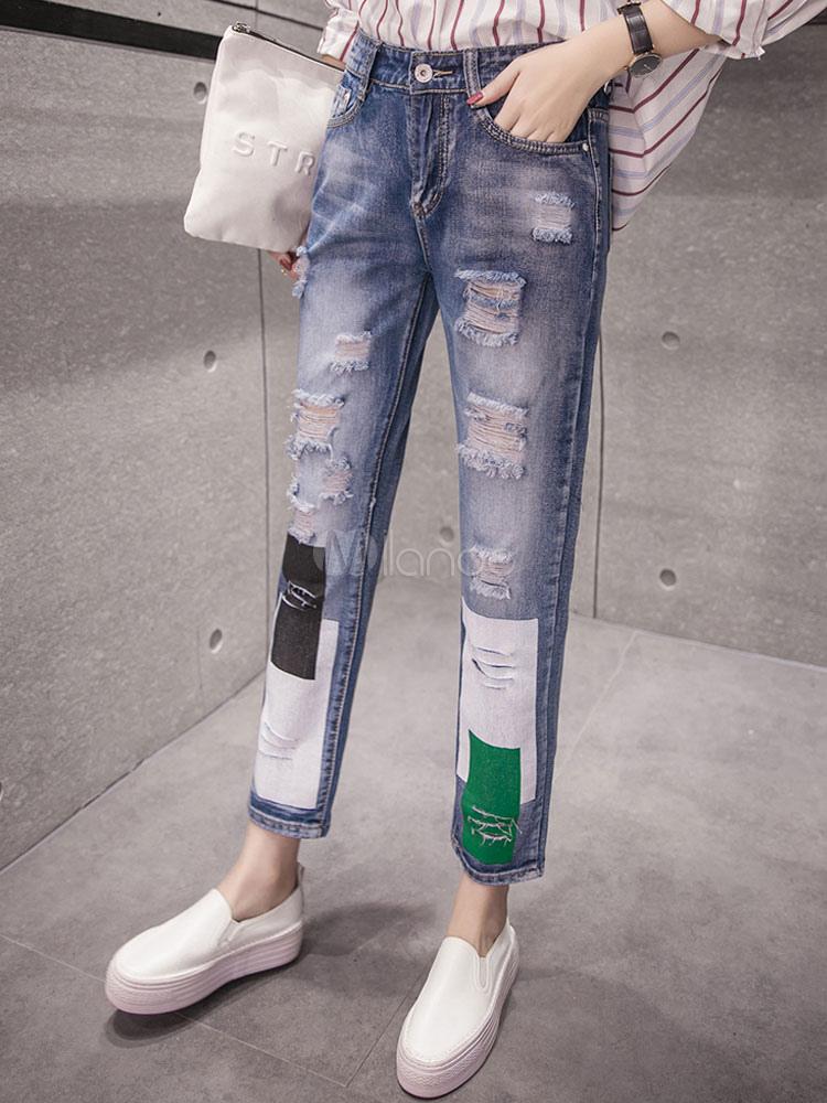 d7b0741fd بنطلون جينز ضيق بخصر مرتفع للنساء - Milanoo.com