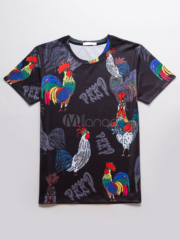Buy Men's Black T Shirt Round Neck Short Sleeve Rooster Printed Casual Top for $9.89 in Milanoo store