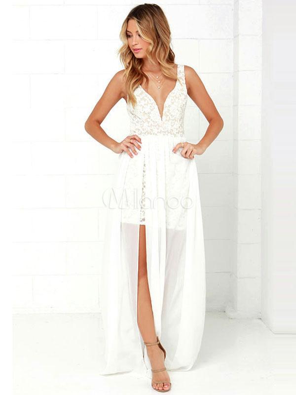 designer fashion 87a73 137a9 Vestito lungo bianco con scollo a V smanicato pizzo con pizzo per ragazze