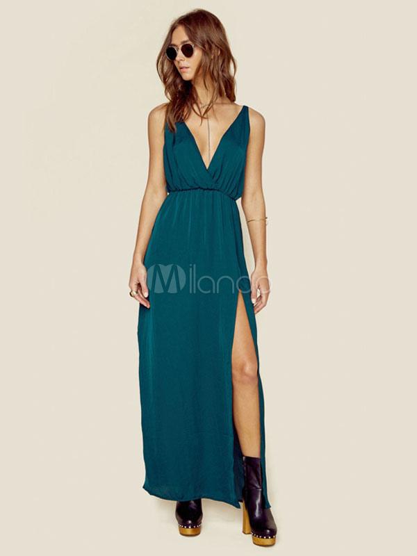 quality design 4e426 146c9 Vestito lungo verdone cotone con scollo a V smanicato artistico spacco  frontale