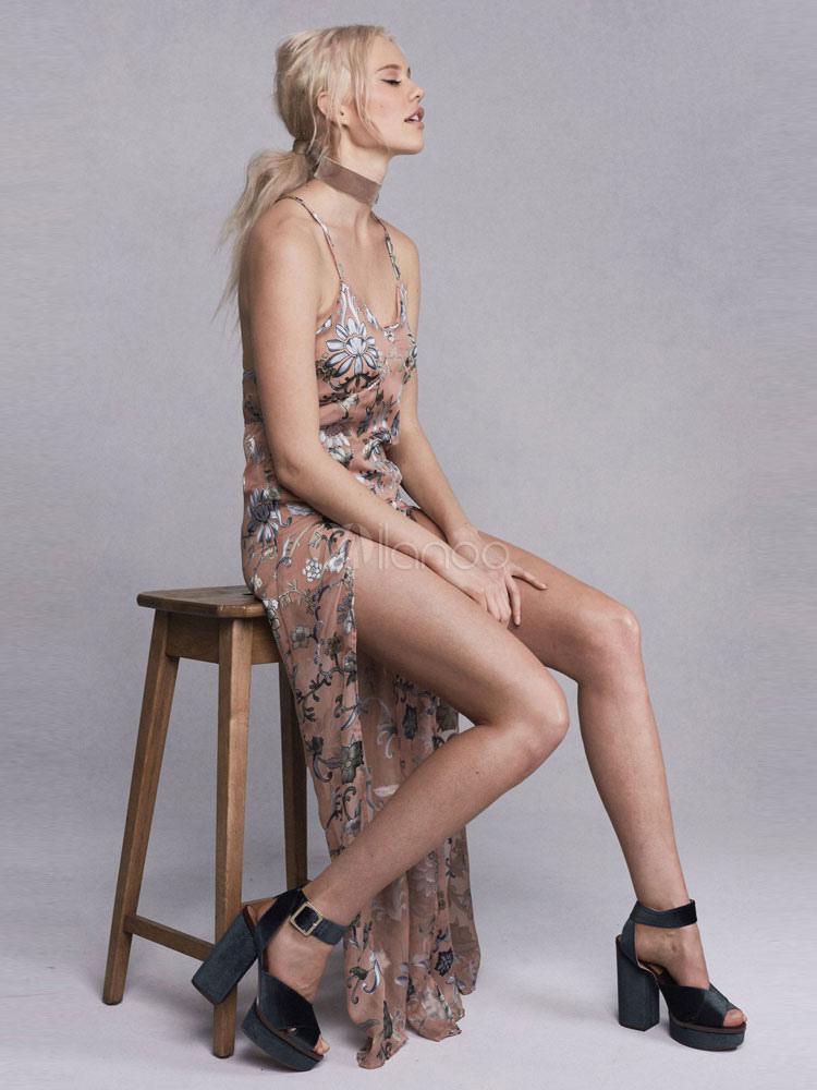 Buy Khaki Long Dress Women's U Neck Backless Strappy Artwork Printed Long Slip Dress for $26.99 in Milanoo store
