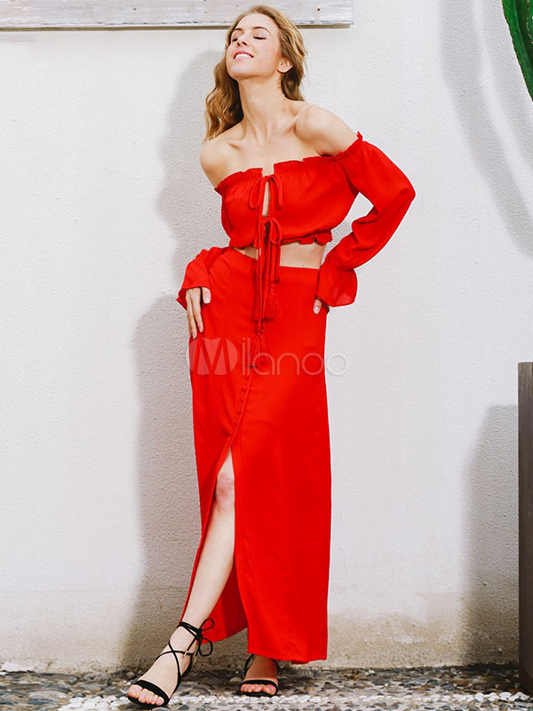 Rosso Top Tailleur Gonna Tessuto In Crêpe xOCtB