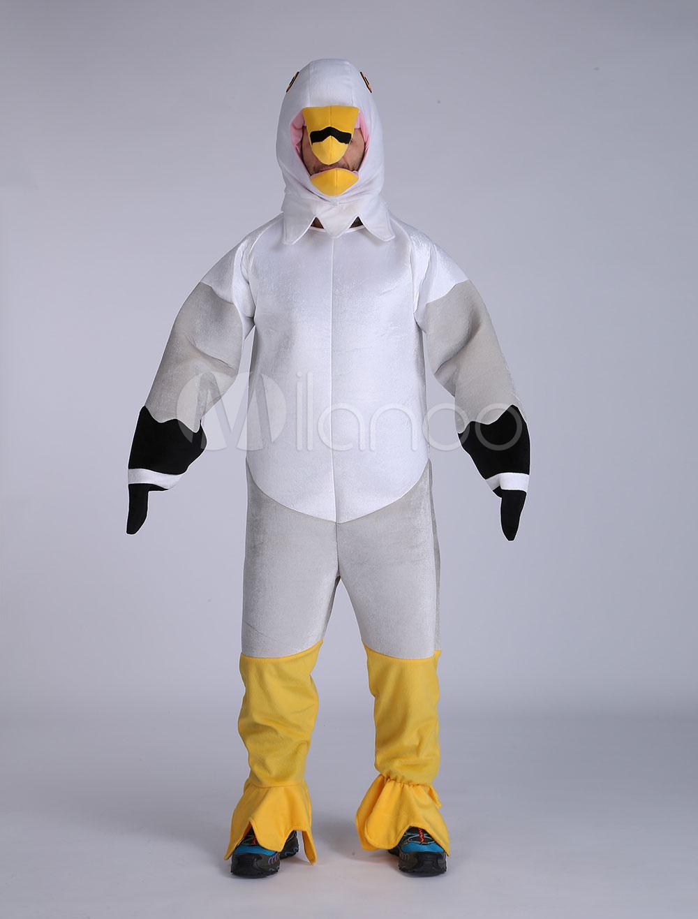 Buy Halloween Seagull Costume Unisex Light Grey Velour Cartoon Character Costume Halloween for $57.99 in Milanoo store