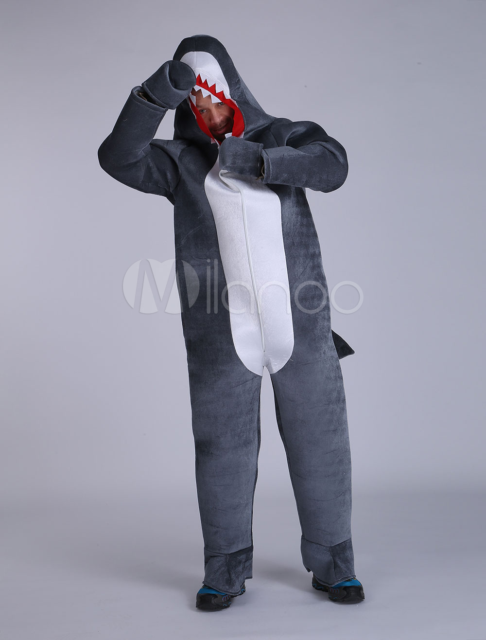 Buy Halloween Shark Costume Grey Unisex Velour Open Face Animal Costume Halloween for $57.99 in Milanoo store