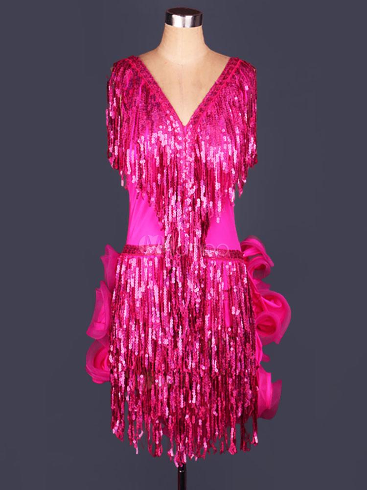 Traje de baile latino Color liso Actuación fibra de poliéster estilo ...