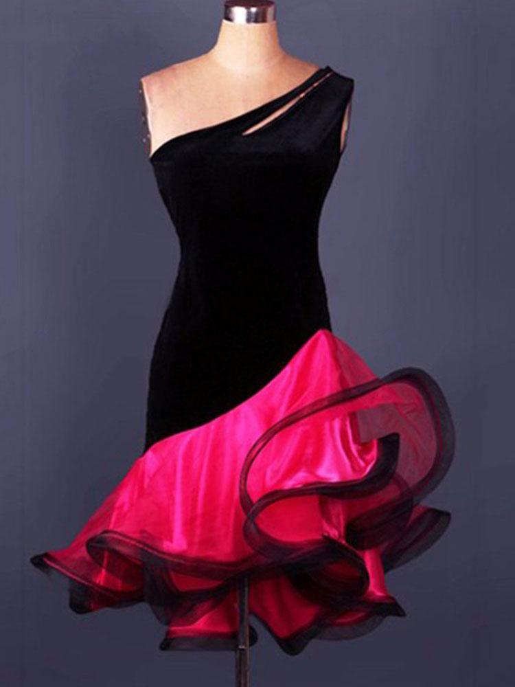 Buy Latin Dance Costume Organza One Shoulder Sleeveless Backless Two Tone Irregular Ruffles Latin Dance Dress for $64.99 in Milanoo store