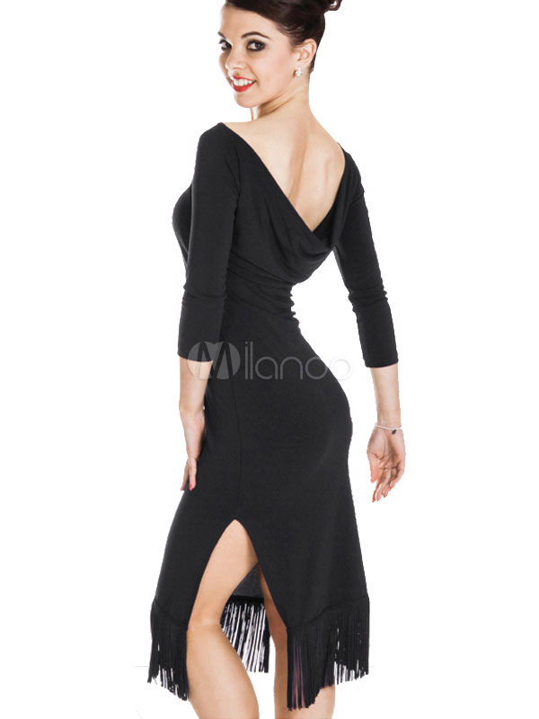 Buy Latin Dance Costume Black Organza Long Sleeve Slit Dress Latin Dance Costumes With Tassels for $63.99 in Milanoo store