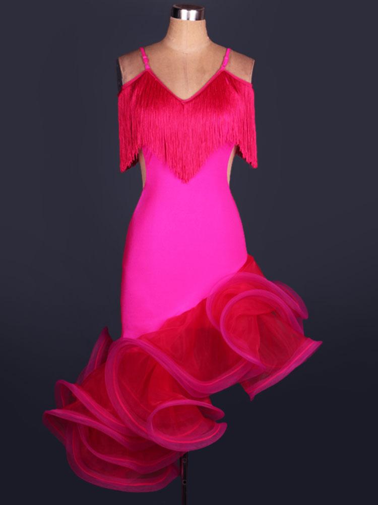ff6999525b1b3 Costume da ballo latino americano interpretazione per adulti monocolore  chic ballerino Latino abito in organza ...