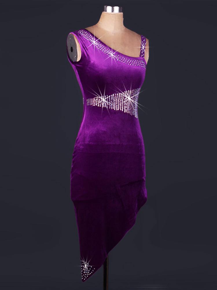 Traje de baile latino de terciopelo Diamante de imitación Color ...