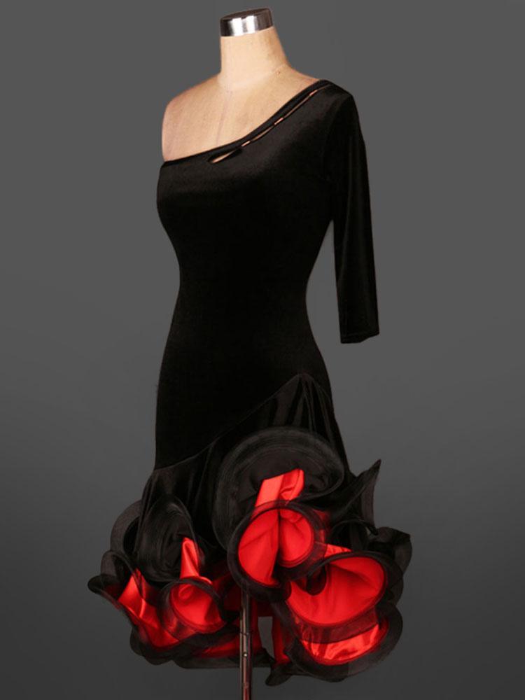 Buy Latin Dance Dress Velour One Shoulder Half Sleeve Backless Two Tone Irregular Ruffles Latin Dance Costume for $64.99 in Milanoo store