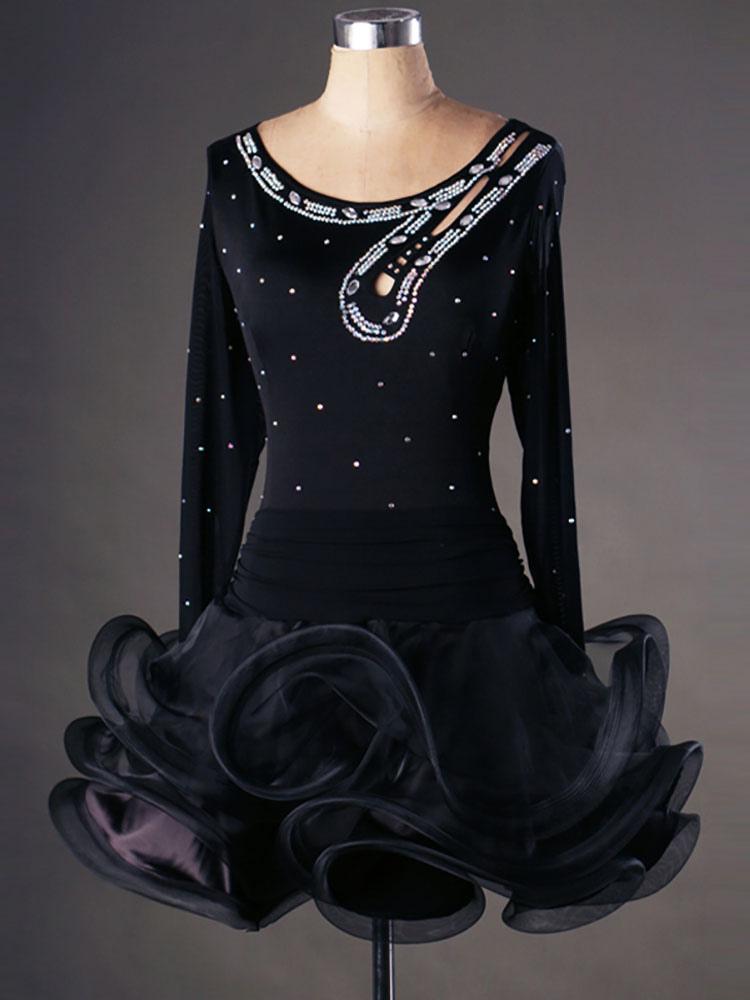 outlet store 74de7 cf629 Costumi da ballo latino americano in organza moderni monocolore ballerino  Latino di cristallo del diamante abito per adulti ballo