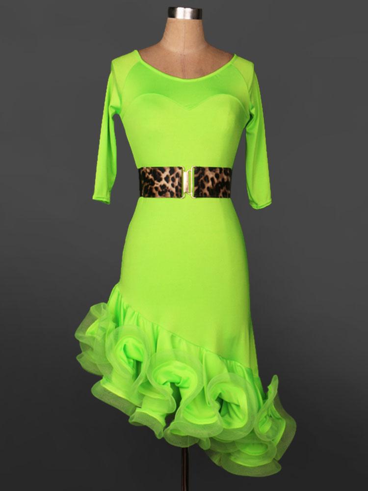 Buy Latin Dance Dress Organza Round Neck Half Sleeve Irregular Ruffles Latin Dance Costume With Sash for $63.64 in Milanoo store