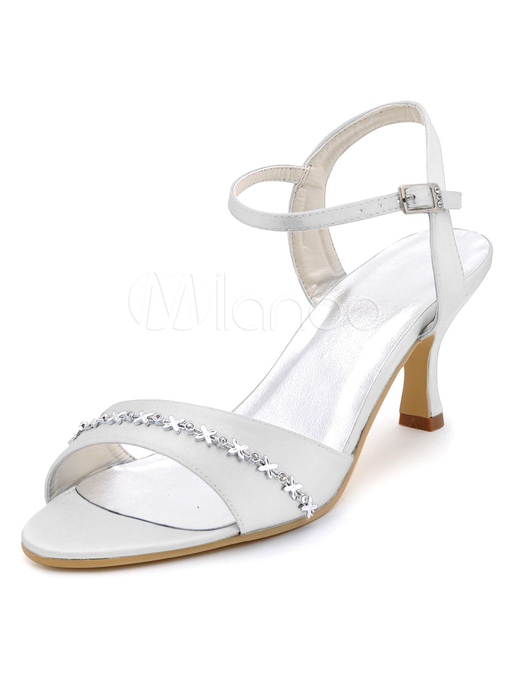 Zapatos De Abierto De Boda Alto Toe Decoración Sandalias Tacón Cadena De Blanco Nupcial pfwqf