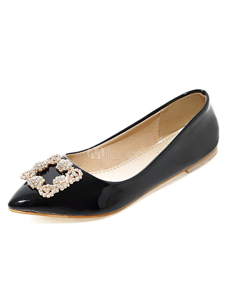 Zapatos planos de puntera puntiaguada slip-on Planos para mujer para ocasión informal estilo moderno Color liso LpK9zHR