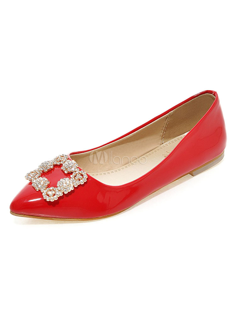 Zapatos planos de puntera puntiaguada slip-on Planos para mujer para ocasión informal estilo moderno Color liso LSJk1M17