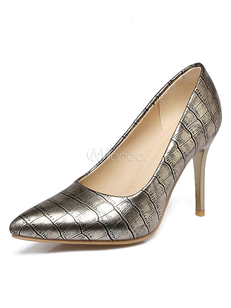 Zapatos de tacón de puntera puntiaguada de PU con estampado de cocodrilo de tacón de stiletto l0atsGV