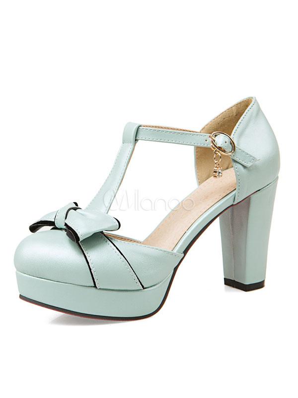 30913f42 Zapatos de tacón de puntera redonda de PU Color liso con lazo de tacón gordo