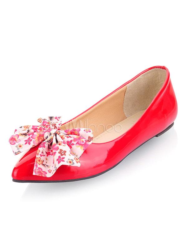 Zapatos planos de puntera puntiaguada slip-on Planos para mujer para ocasión informal estilo moderno con lazo AQA9HIYu1j