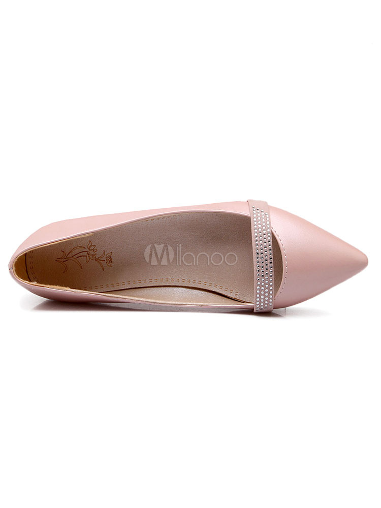 Zapatos planos de puntera puntiaguada slip-on Planos para mujer Trabajo estilo moderno Color liso B9WaL